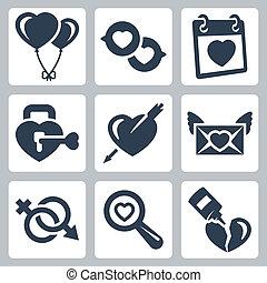 vecteur, isolé, amour, icônes, set:, baloons, parole,...