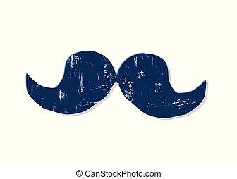 vecteur, isolé, blanc, moustache, illustration., arrière-plan.