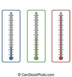 vecteur, isolé, clinique, fond, thermomètre, blanc