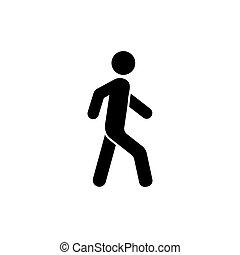 vecteur, isolé, fond blanc, promenade, icône