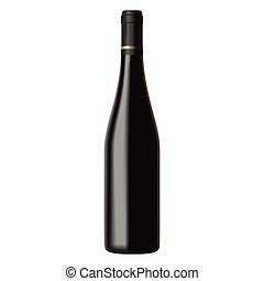 vecteur, isolé, illustration, réaliste, fond, noir, bouteille, vin blanc