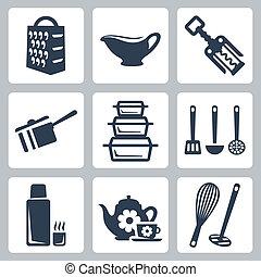vecteur, isolé, kitchenware, icônes, set:, râpe, sauceboat,...