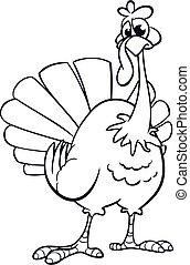 vecteur, isolated., dessin animé, heureux, jour, turkey., conception, mignon, thanksgiving, illustration