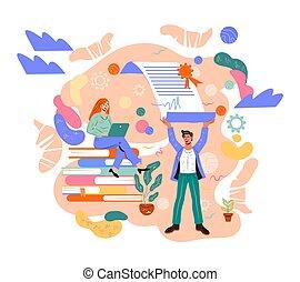 vecteur, isolated., plat, association, illustration, collaboration, business