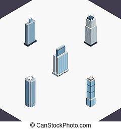 vecteur, isométrique, appartement, urbain, business, construction, centre, inclut, gratte-ciel, aussi, ensemble, tour, tour, elements., autre, objects.