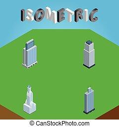 vecteur, isométrique, appartement, urbain, business, objects., centre, inclut, aussi, tour, ensemble, gratte-ciel, elements., business, autre, cityscape