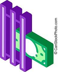 vecteur, isométrique, argent, imprimante, icône, illustration, faux