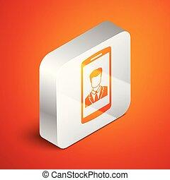 vecteur, isométrique, carrée, entrant, téléphone, contact., écran, isolé, illustration, screen., arrière-plan., contact, appeler, humain, orange, button., call., smartphone, argent, icône