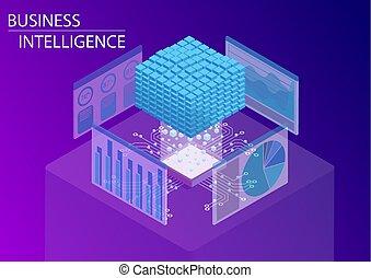 vecteur, isométrique, concept, business, intelligence, bi, /, dashboard., analytics, cube, illustration, données, 3d