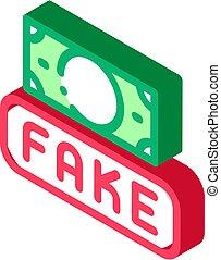 vecteur, isométrique, devise argent, icône, illustration, faux