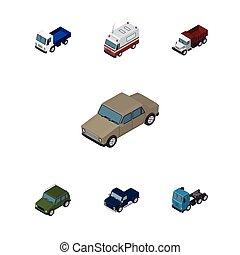 vecteur, isométrique, ensemble, blindé, elements., camion, auto, inclut, aussi, premiers secours, fret, objects., autre, transport