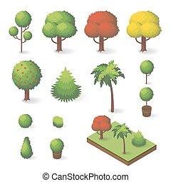 vecteur, isométrique, ensemble, divers, arbres