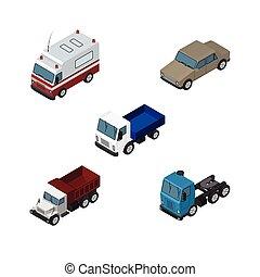 vecteur, isométrique, ensemble, elements., voiture, camion, auto, inclut, aussi, autre, fret, fret, camion, objects., aide