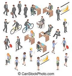 vecteur, isométrique, ensemble, gens., business