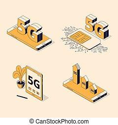 vecteur, isométrique, generation., grand, illustration, signe, gadgets, ensemble, divers, numérique, 5g, cinquième