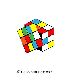 vecteur, isométrique, illustration, cube., arrière-plan., blanc, rubik's, puzzle