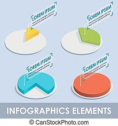 vecteur, isométrique, infographic, diagrammes