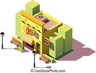 vecteur, isométrique, magasin jouet