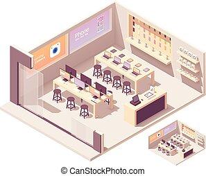 vecteur, isométrique, smartphones, magasin informatique