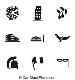 vecteur, italien, ensemble, noir, icônes