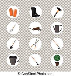 vecteur, items., ensemble, jardinage, divers