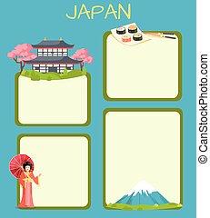 vecteur, japon, concept, copyspace, touristique