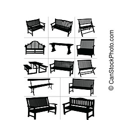 vecteur, jardin, grand, ensemble, benches.