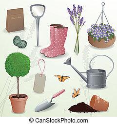vecteur, jardinage, éléments