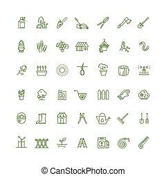 vecteur, jardinage, contour, icônes, pousser, graines, mince, maison