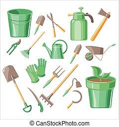 vecteur, jardinage, ensemble, outils, illustration