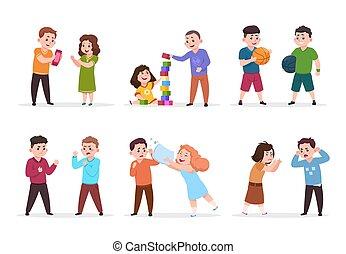 vecteur, jeu, gosses, plus petit, filles, ensemble, behavior., intimider, garçons, mauvais, bon, caractères, children., confrontation, amical