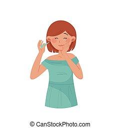 vecteur, jeune fille, illustration, demande, court, ...