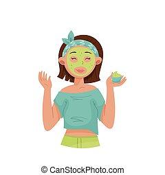 vecteur, jeune fille, illustration, masque, demande, court, ...
