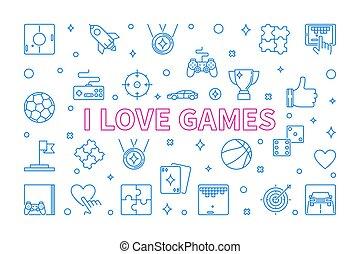 vecteur, jeux, amour, concept, contour, horizontal, illustration