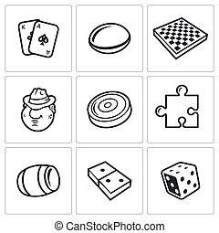 vecteur, jeux, planche, icône