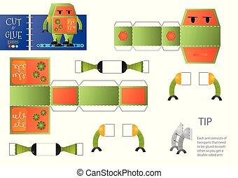 vecteur, jouet éducatif, illustration., worksheet, robot, papier, coupure, métier, colle