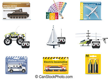vecteur, jouet, adolescent, icons., jouets