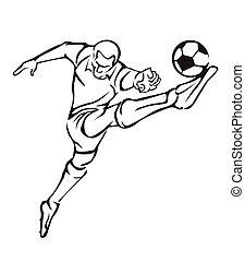 vecteur, joueur, football,  Illustration