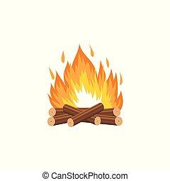 vecteur, journaux bord, brûlé, isolated., illustration, bois, flamme, feu camp, dessin animé