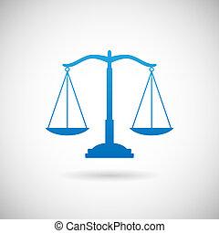 vecteur, justice, fond, gris, icône, gabarit, droit & loi, conception, symbole, illustration, balances