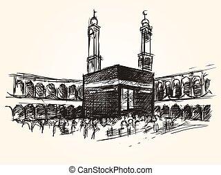 vecteur, kaaba, symbolique, bâtiment, saint, dessin, hajj, islam, pèlerinage, croquis