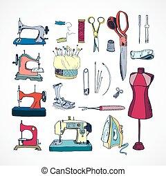 vecteur, kit, couture, main, dessiné, outils colorent
