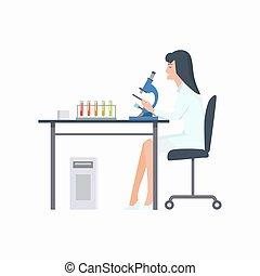 vecteur, laboratoire, femme, illustration, fonctionnement