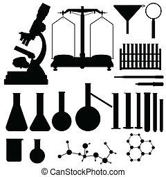 vecteur, laboratoire, silhouettes, ensemble