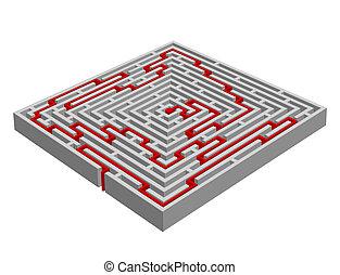 vecteur, labyrinth/maze, 3d, fait, effet, illustration