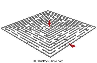 vecteur, labyrinth/maze, homme, centre, illustration