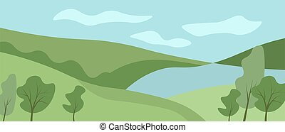 vecteur, landcape, fond