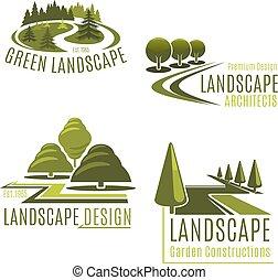 vecteur, landscaping, compagnie, icônes, nature