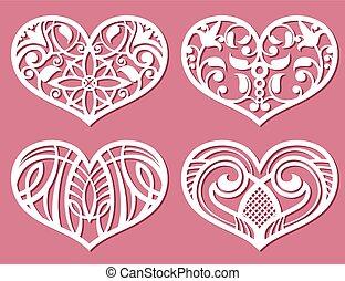 vecteur, laser, romantique, modèle, impression, dentelle, découpé, mariage, cœurs, ensemble