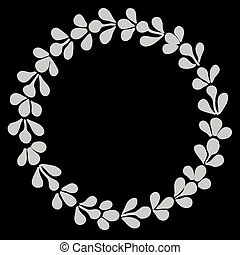 vecteur, laurier, blanc, couronne, noir
